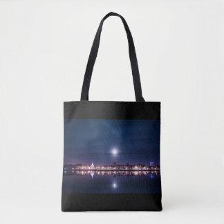 Super moon rising over blue Kings Lynn Tote Bag