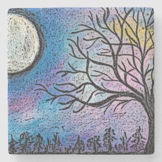 Super Moon & Tree Landscape Stone Coaster