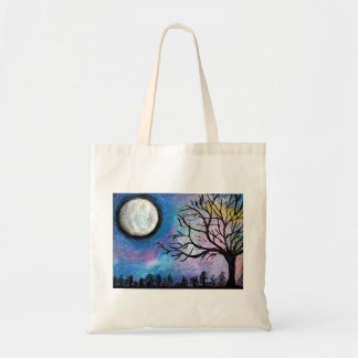 Super Moon & Tree Landscape Tote Bag
