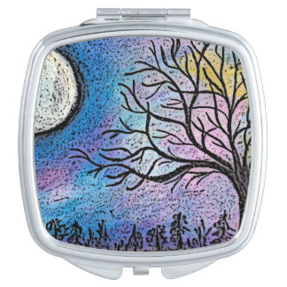 Super Moon & Tree Landscape Travel Mirror