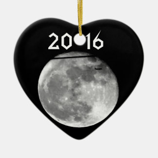 Super Moon with Airplane Passing/Customizable! Ceramic Heart Decoration