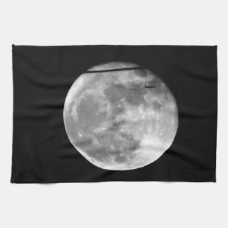 Super Moon with Airplane Passing/Customizable! Kitchen Towel