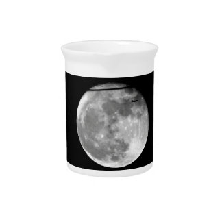 Super Moon with Airplane Passing/Customizable! Pitcher