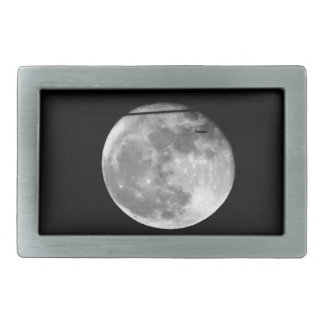 Super Moon with Airplane Passing/Customizable! Rectangular Belt Buckle