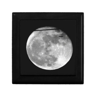 Super Moon with Airplane Passing/Customizable! Small Square Gift Box