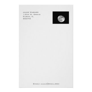 Super Moon with Airplane Passing/Customizable! Stationery