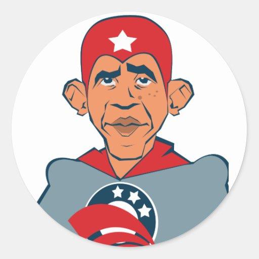Super Obama Round Stickers