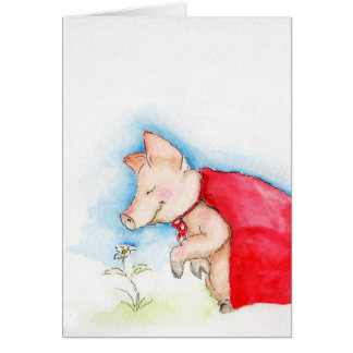 Super Pig Takes Time to Smell the Flowers Card