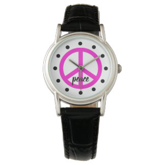 Super Pink Peace Symbol Personalized Watch