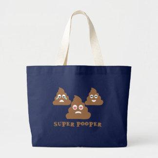 Super Pooper Emoji Large Tote Bag