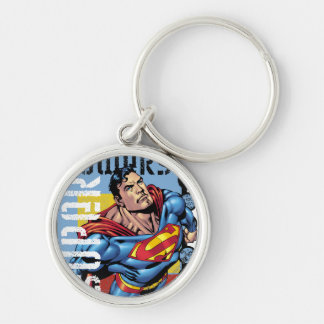 Super Powers Silver-Colored Round Key Ring