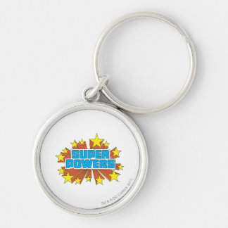 Super Powers™  Logo Blue Silver-Colored Round Key Ring