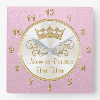 Super Pretty Pink Princess Clock with YOUR TEXT