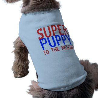 Super Puppy to the Rescue - Red and Blue Sleeveless Dog Shirt