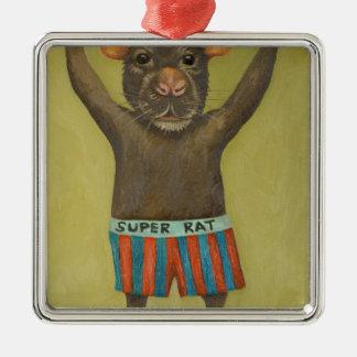 super rat Silver-Colored square decoration