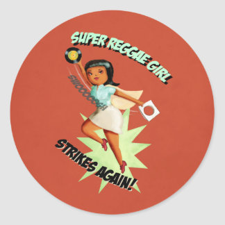 Super Reggae Girl Round Sticker