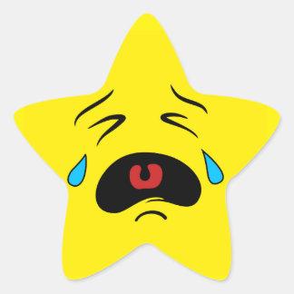 Super Sad Crying Face Emoji Star Sticker