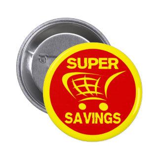 Super Savings Retail Shopping Cart Label 6 Cm Round Badge