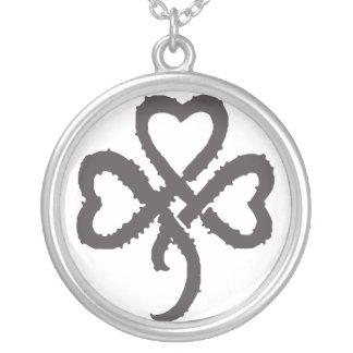 Super Shamrock - Black Round Pendant Necklace