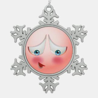 Super shy and blushing emoji snowflake pewter christmas ornament