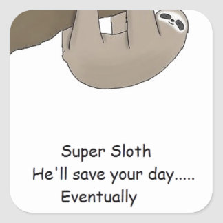 Super Sloth Hero Square Sticker