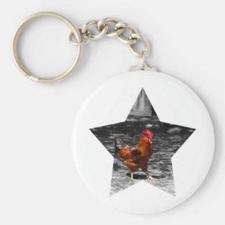 Super Star Chicken Basic Round Button Key Ring