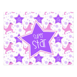 Super Star Dinosaur Postcard in Purple and Pink
