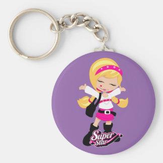 Super Star girl Basic Round Button Key Ring