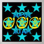 Super Star Teal Yellow Swirls Stars Pattern