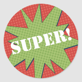 Super Starburst - Red & Green Classic Round Sticker