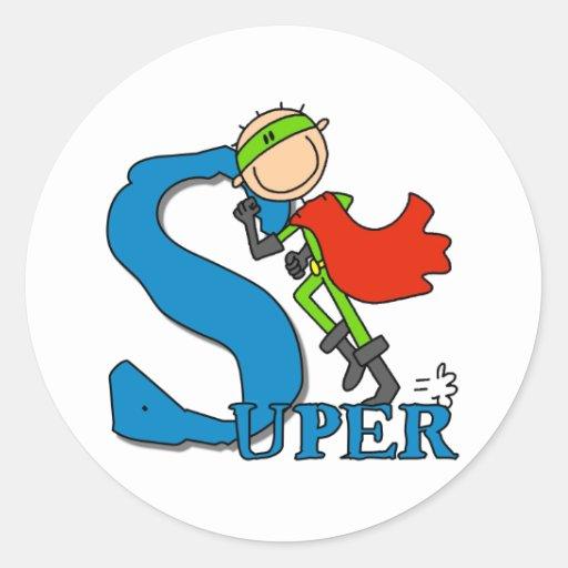 Super Stick Figure Hero Round Stickers