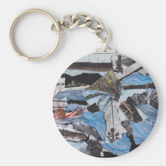Super storm Sandy collage Basic Round Button Key Ring