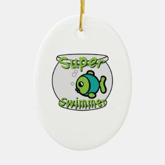 Super Swimmer Ceramic Ornament