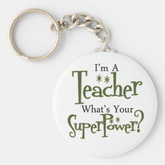 Super Teacher Basic Round Button Key Ring