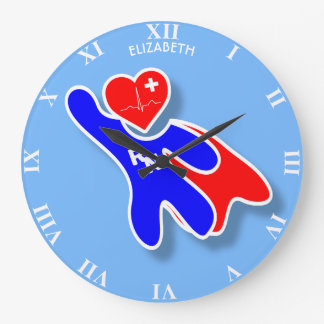 Super Wonder Registered Nurse RN, With Red Heart Large Clock