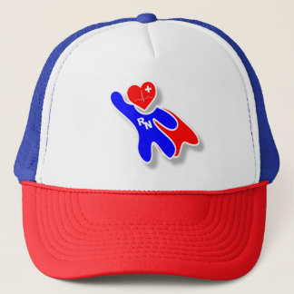 Super Wonder Registered Nurse RN, With Red Heart Trucker Hat