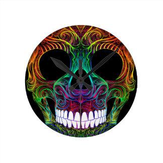 Superb Sugar Skull Dia De Los Muertos Candy Skull Round Clock