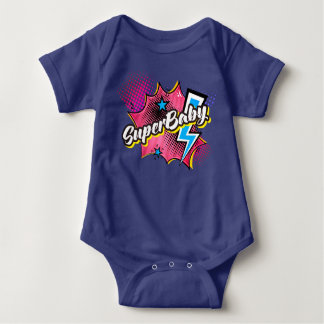 SuperBABY superhero comic bodysuit gift PINK, NAVY