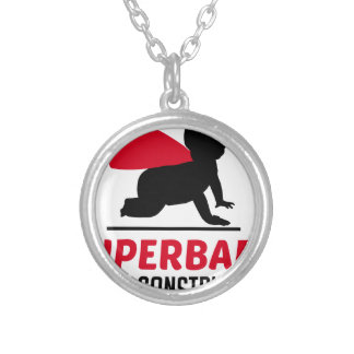 superbaby under construction silver plated necklace