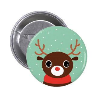 Supercute kids brown Reindeer 6 Cm Round Badge