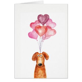 Supercute watercolor dog with heart balloons card