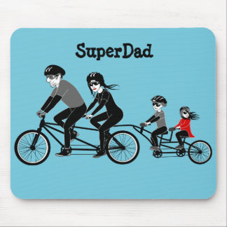 """""""SuperDad"""" bike riding family Mouse Pad"""