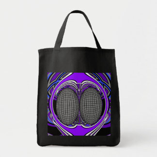 Superfly in blue and purple canvas bag