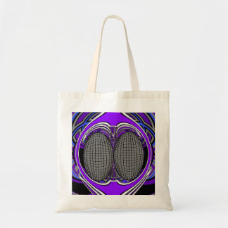 Superfly in blue and purple tote bags