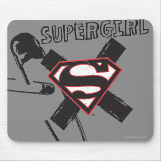Supergirl Black Safety Pins Mouse Pad