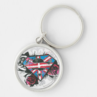 Supergirl British Flag and Roses Silver-Colored Round Key Ring