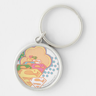 Supergirl Colorful Cloud Logo Silver-Colored Round Key Ring