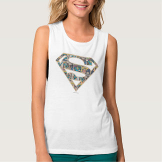Supergirl Comic Strip Logo Flowy Muscle Tank Top