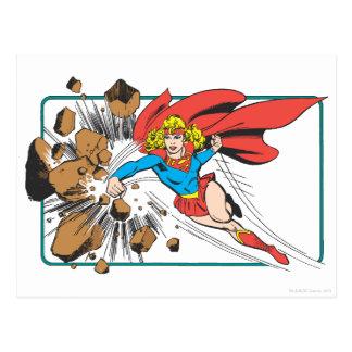 Supergirl Destroys Boulder Postcard