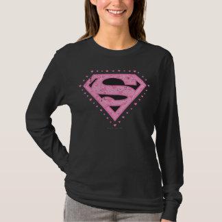 Supergirl Distressed Logo Black and Pink T-Shirt